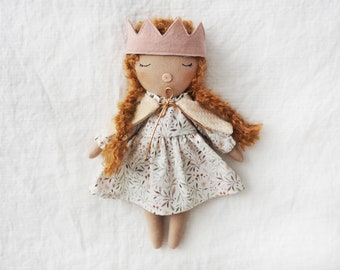 Doll boy handmade unique made by hand linen crown pink floral dress ruffles braided doll natural fabrics