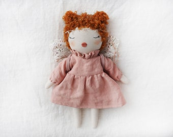 Doll handmade unique made by hand with butterfly wings read head doll pink linen dress