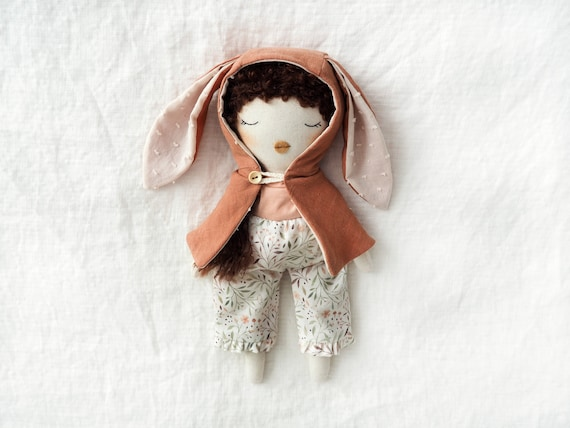 Doll handmade unique made by hand bunny costume linen cape