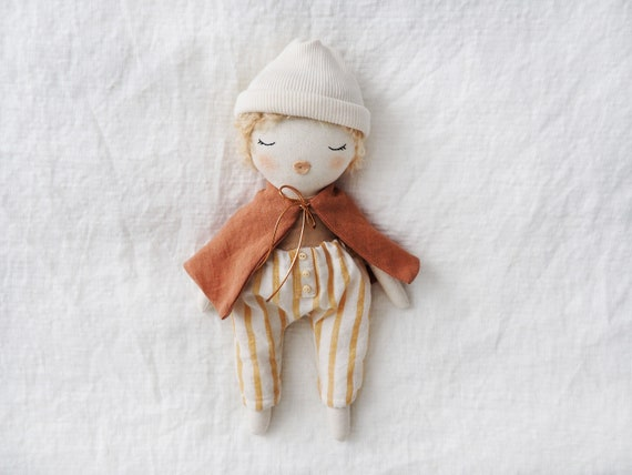 Doll boy handmade unique made by hand linen rust cape blond hair boy