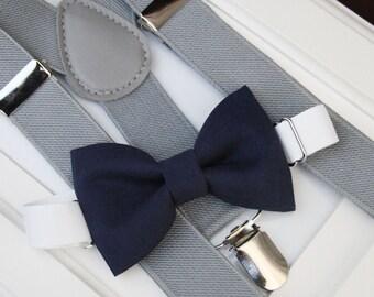 Navy bow-tie & gray elastic suspender set, Boy bow tie and suspenders set , Wedding bow tie and suspenders Set