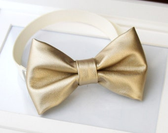 Champagne Gold faux leather bow-tie for baby toddler teens adult - Adjustable neck-strap - Champagne gold wedding bow tie