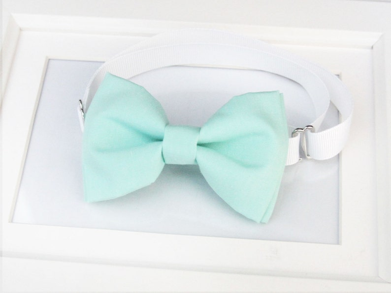 Mint Green bow-tie  Mint bow tie  Wedding bow tie  Adult image 0