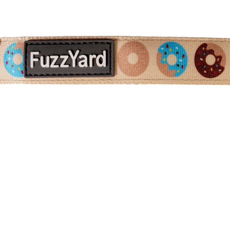 Go Nuts Dog Lead Multi-Colored Donuts on Tan field Large Leash 55