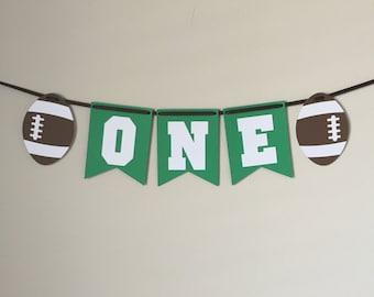 Highchair Banner, Football One Banner, Football highchair banner, Football first birthday, ONE banner, one, football