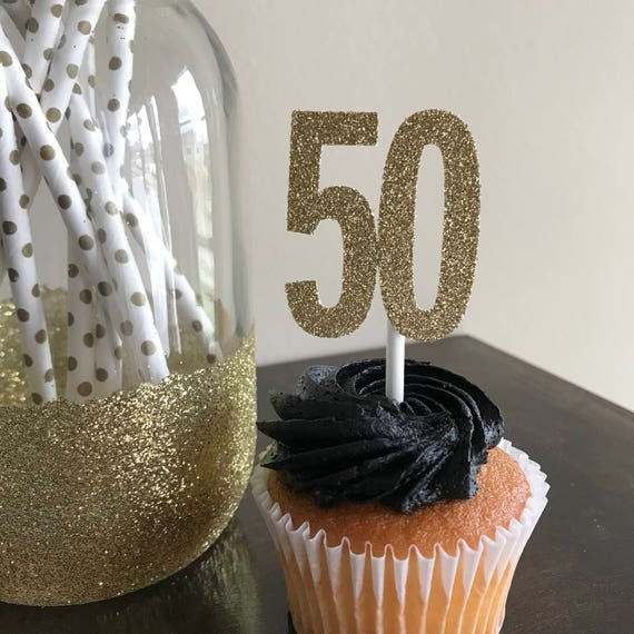50th Anniversary Party Cupcake Toppers Birthday