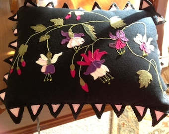 Fuschia Floral  Fantasy Decorative Appliqued Pillow Pattern in Wool