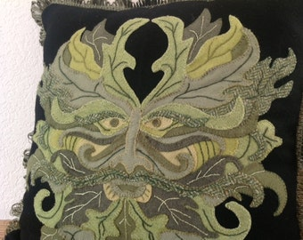 Green Man Decorative Appliqued Pillow Pattern (Pattern Only)