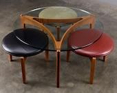 Sven Ellekaer Coffee Table and Stools Set Mid Century Danish Modern Teak