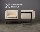 Pair of Milo Baughman Cube Chairs Mid Century Vintage