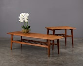 Mid Century Coffee Table and End Table Set Danish Modern Teak