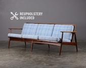 Mid Century Sofa Teak Danish Modern Couch