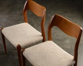 Pair of Danish Modern Dining Chairs Moller Model 71 Teak