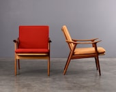 2 Fredrik Kayser Lounge Chairs Mid-Century Modern Teak Pair