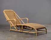 Vintage Rattan and Bamboo Chaise Longue Lounge Chair