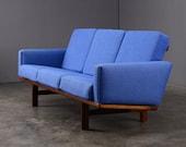 Hans Wegner Sofa Couch GE 236 Getama Danish Modern Blue