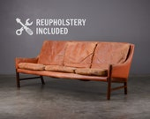 Mid-century Leather Sofa Fredrik Kayser Danish Modern