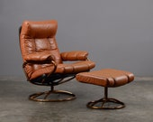 Vintage Leather Recliner Ekornes Stressless Mid Century