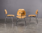 4 Eames DCM Oak and Steel Dining Chairs Authentic Mid-Century Modern