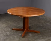 4ft+ Solid Teak Dining Table Round to Oval Danish Modern