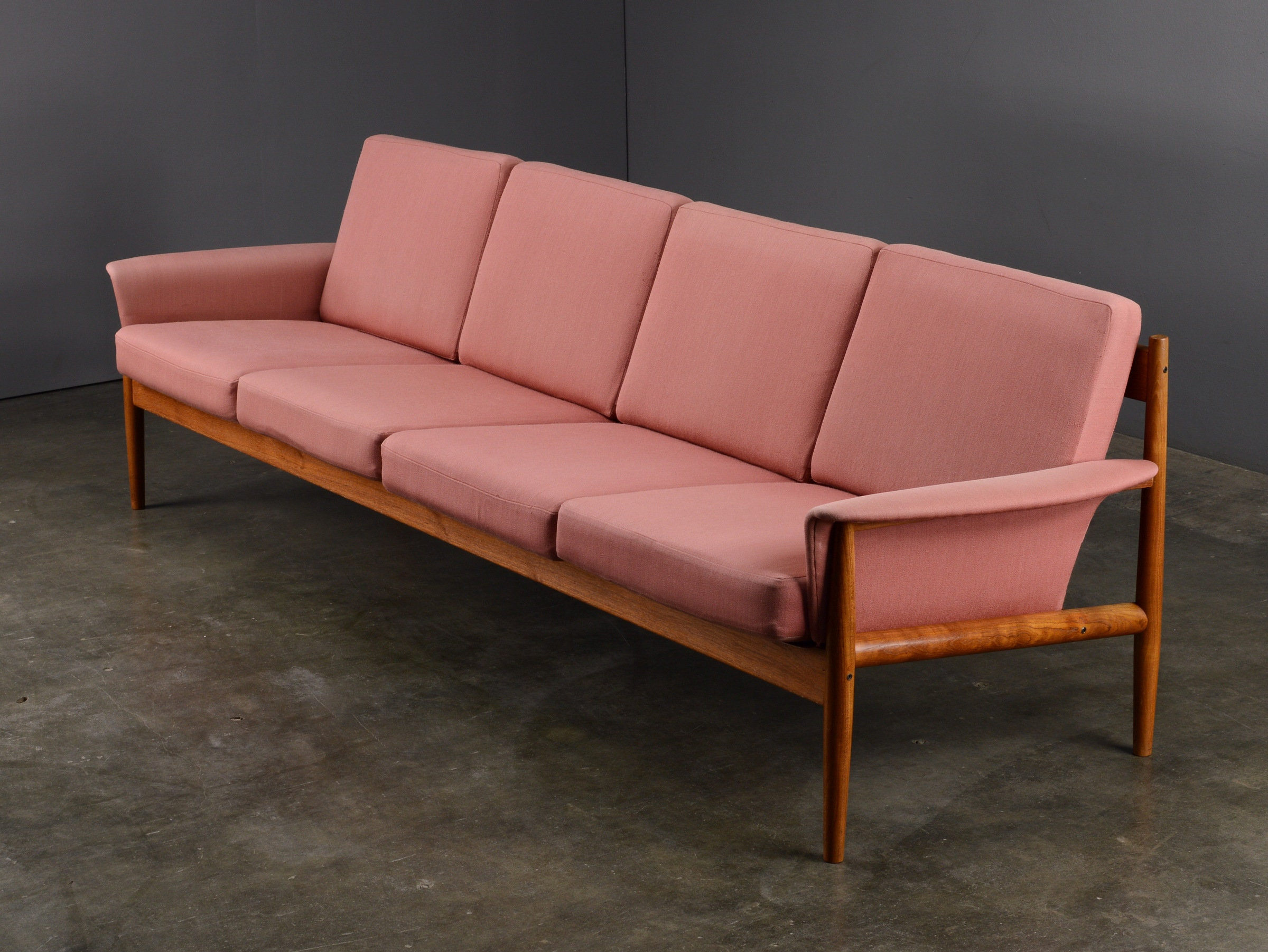 8ft Mid Century Sofa Grete Jalk France And Son Danish Modern Teak Pink