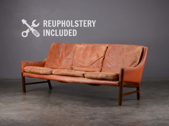 Mid-century Leather Sofa Fredrik Kayser Danish Modern