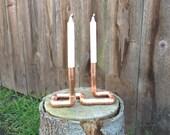 Industrial Copper Pipe Candelabra, Steampunk Wedding Centerpiece, Copper Anniversary Gift, Copper Candelabra, Wedding Gift, Mothers Day