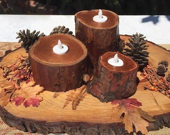 Metallic Copper Tree Stump Candle Holders, 3 PC SET Woodland Wedding, Thanksgiving Centerpiece, Wood Wedding Anniversary Gift Rustic Decor