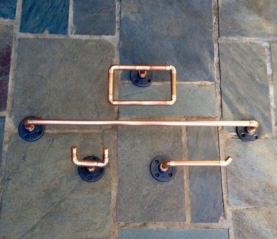 Accessoires De Salle De Bain Industriel Lot De 4 Pc Tuyau Cuivre Porte Serviette Patere Porte Papier Toilette A La Main Un Anneau Pour Serviette