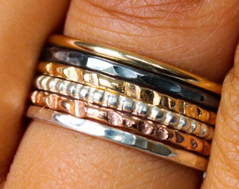 Mixed Metals Ring Set Hammered Stack Rings Stackable Ring Set Hammered Ring Set Mixed Metal Rings Sterling Silver Stack Rings Gift for Women