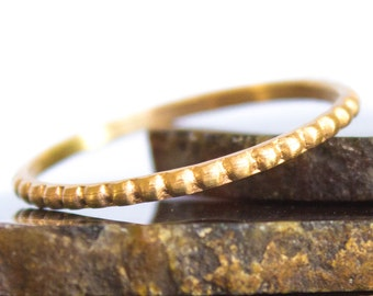 Beaded Gold Ring Brushed Solid 14kt Gold Stacking Ring Sz 3 thru 8