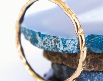 Hammered Thin Gold Stacking Ring (1) One Ring