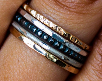 Mixed Metal Stacking Rings Set Gold & Sterling Silver Stack Ring Set Stackable Mixed Metal Ring Set 5 Band Stack Rings Set Stacking Ring Set