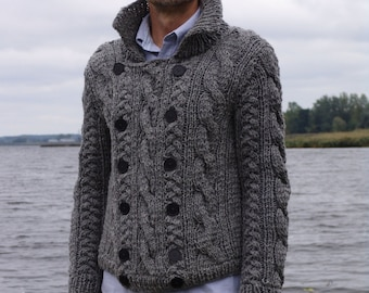 Man jacket gray wool knitted with buttons winter sweater cardigan christmas gift