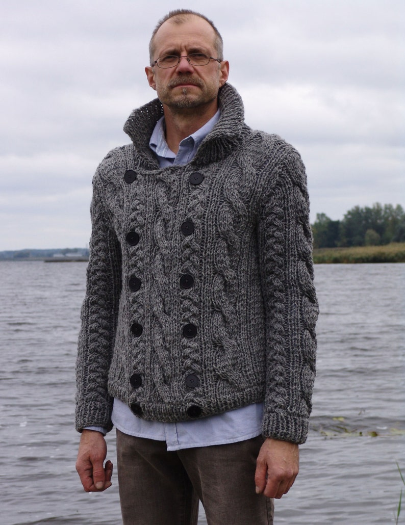 Man jacket gray wool knitted with buttons winter sweater image 0