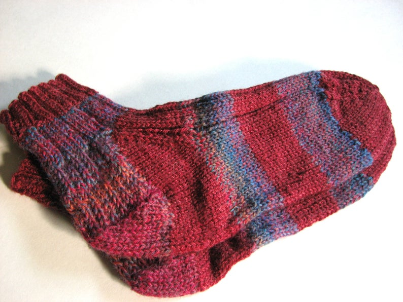 76a5895bde65 Socks Hand Knit Wool Blend Women Size Small Red and Blue | Etsy