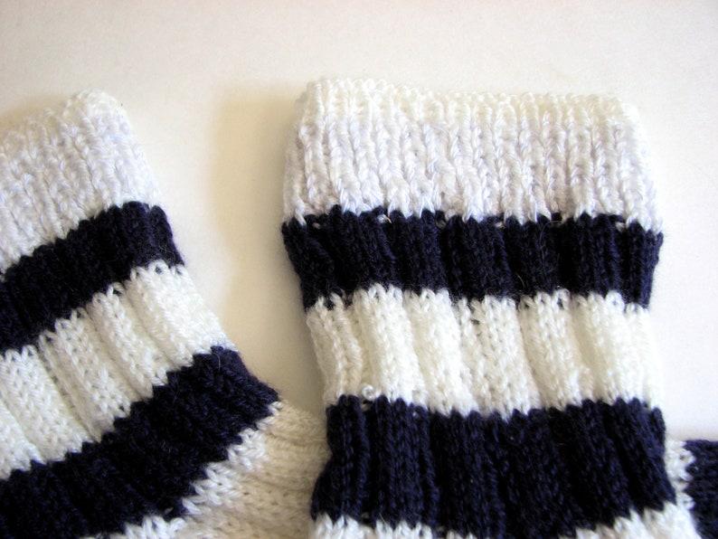 Quarter Cut Sport Sock Hand Knitted Socks Striped White Sock Navy Blue Stripes Womens Socks