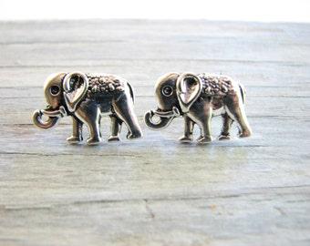 Silver Elephant Studs, Elephant Jewelry, African Animal, Post Earrings Cute Safari Animal Jewelry, Elephants Earrings, Gifts for Her