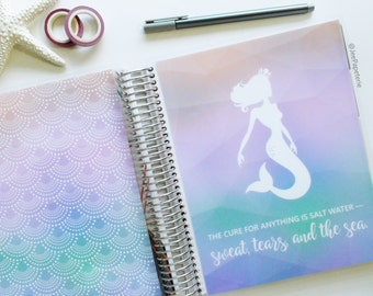 Planner COVER, Happy Planner Cover, Erin Condren Cover, Recollections Cover, Levenger Cover: Mermaid/Salt Water/Sweat/Tears/Sea - JEWEL TONE