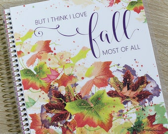 "Fall/Autumn Planner COVER: for Erin Condren Planner Cover, Happy Planner Cover, Recollections Cover, Levenger ""But I Think I Love Fall"""