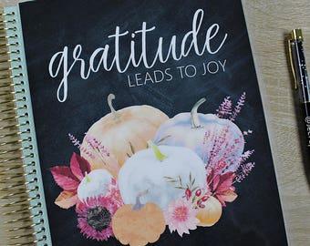"""Fall/Autumn Planner COVER: for Erin Condren Planner Cover, Happy Planner Cover, Recollections Cover, Levenger """"Gratitude Leads to Joy"""""""