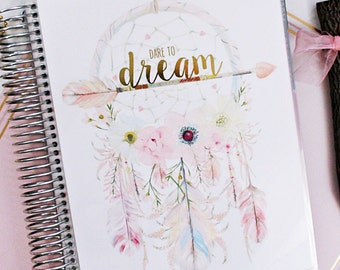"""Planner COVER, Erin Condren Cover, Happy Planner Cover, Recollections Cover, Levenger Cover: Dreamcatcher Gold Foiled """"Dare To Dream"""""""