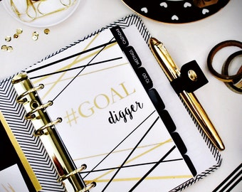 "Planner DASHBOARD, A5, Personal, Half-Letter: Gold Foiled ""Goal Digger"", 5-mil Laminated"