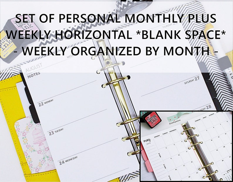 Printed PERSONAL-SIZE: SET of Monthly  Weekly Blank Space image 0