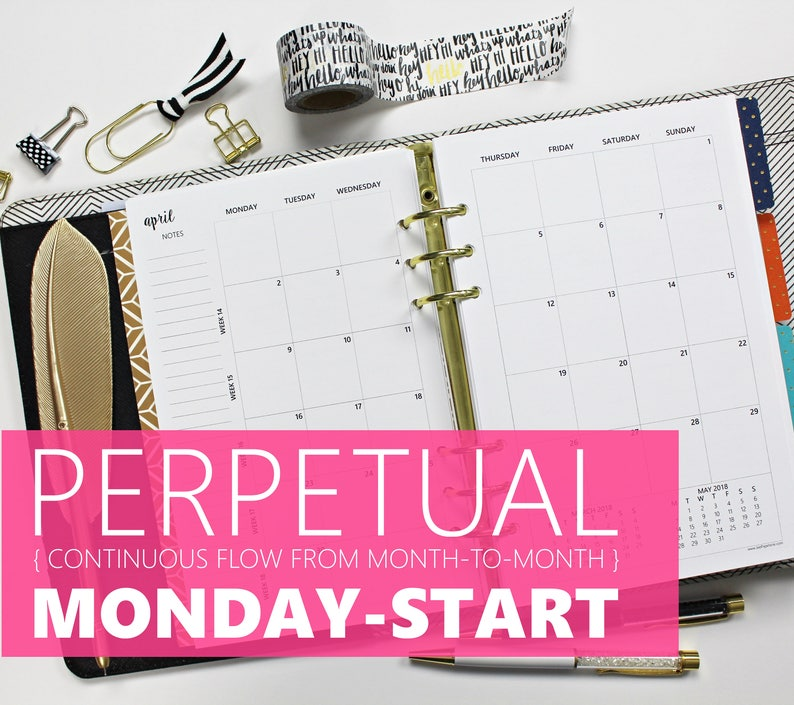 Printed Monthly Inserts PERPETUAL MONDAY-START: 12-Months & 2 image 0