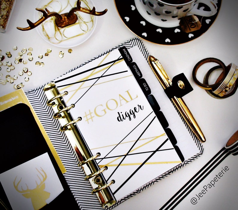 Planner DASHBOARD A5 Personal Half-Letter: Gold Foiled image 0