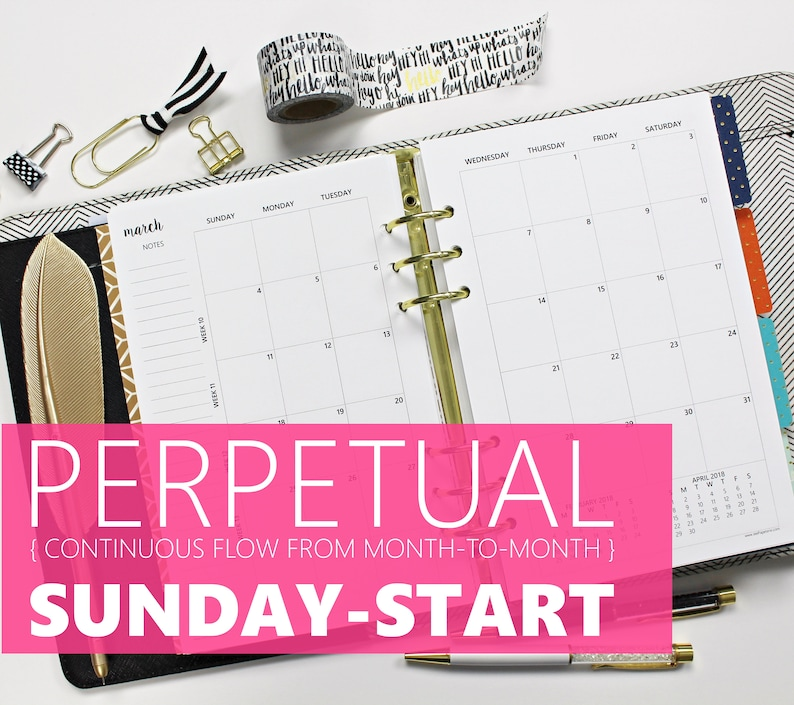 Printed Monthly Inserts PERPETUAL SUNDAY-START: 12-Months & 2 image 0