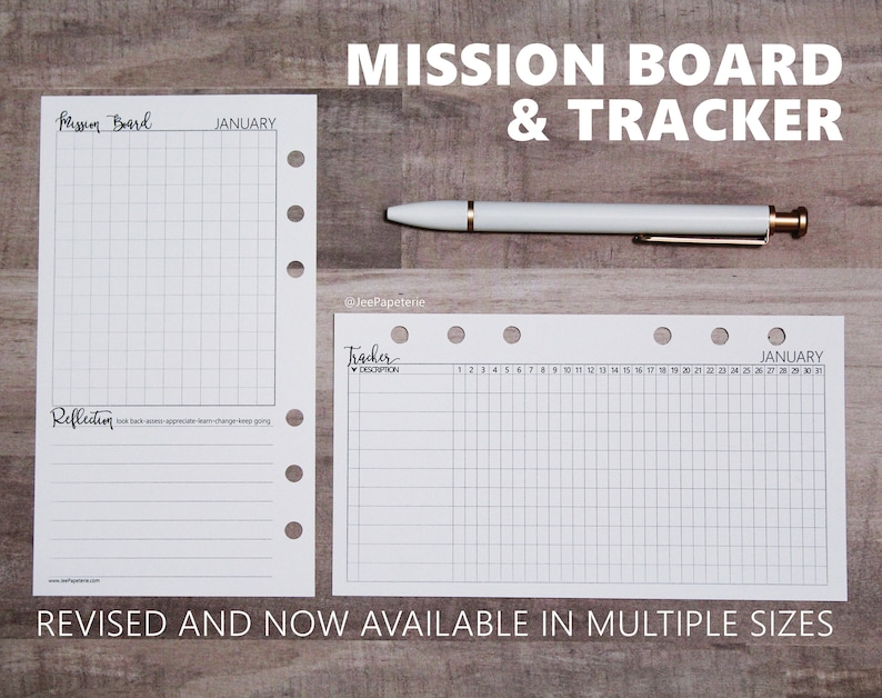 Mission Board & Tracking Inserts for projects habits tasks image 0