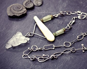 Heart Of Change - Salvaged Found Object Assemblage Art Necklace Seaglass Roman Glass Bead Mother of Pearl Sterling Silver Chain