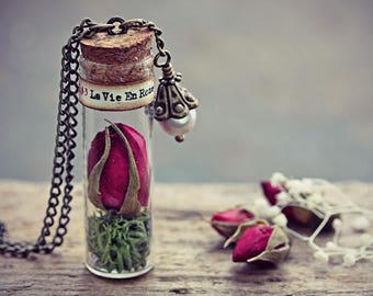 Rose Necklace Glass Bottle Jewelry Real Dried Flower Pendant Louis Armstrong La Vie En Rose Romantic Valentines Gift For Her
